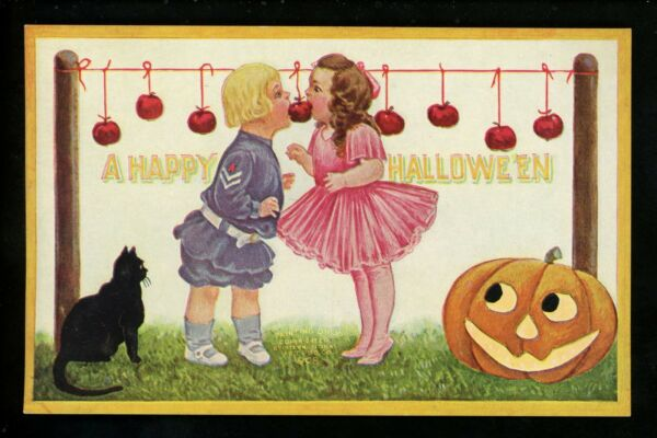 Halloween Postcard International Art IN1-2 2of2 Artist Wall black cat JOL apples