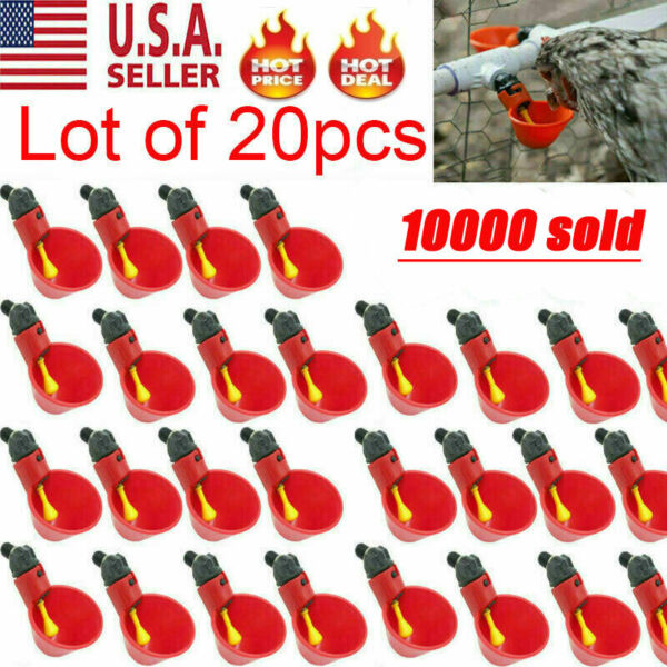 20Pack Poultry Water Drinking Cups Chicken Hen Plastic Automatic Drinker Quail $17.99