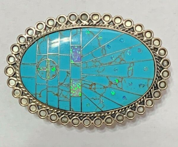 Sterling Silver Handmade Inlay Turquoise with Opal Sun Face Belt Buckle