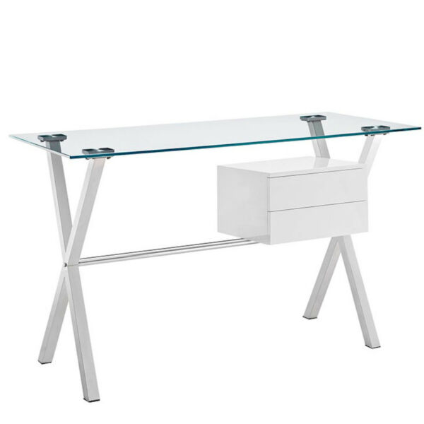 Modern Glass Top Writing Office Desk 2 Drawers Stainless Steel White Storage