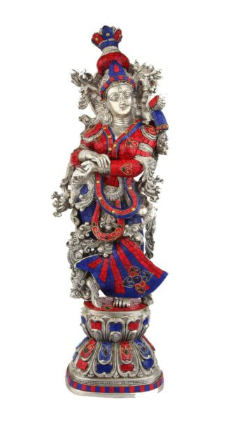 Brass Handicraft Standing Goddess Radha Statue Décor Inlay Showpiece Idol 29