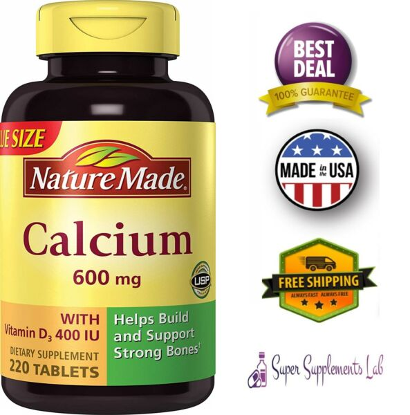 CALCIUM CARBONATE 600 mg 220 Tablets with Vitamin D3 400 IU Support Strong Bones $17.08