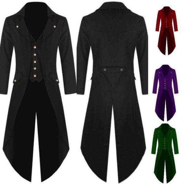 Tailcoat Mens Vintage Victorian Gothic Steampunk Swallow-tailed Coat Long Jacket