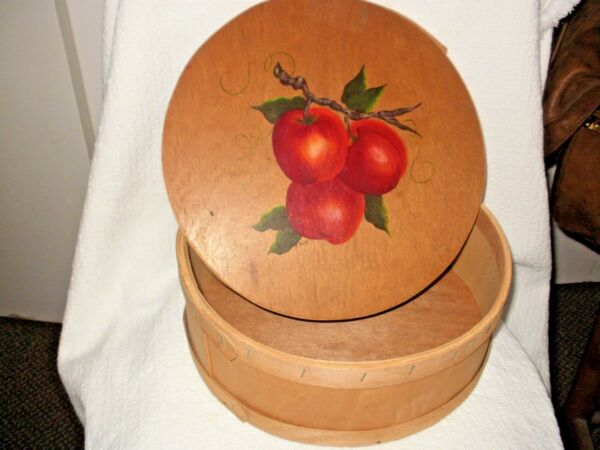 PRIMITIVE VINTAGE WOOD PANTRY ROUND BOX wHAND-PAINTED LID APPLES SIGNED