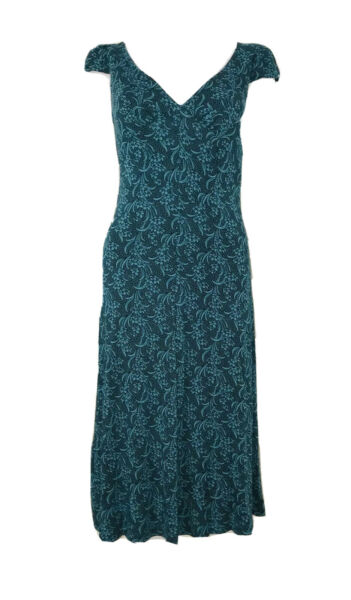 Vintage Betsey Johnson Teal Floral Empire Waist Cap Sleeve Shift Dress Size P