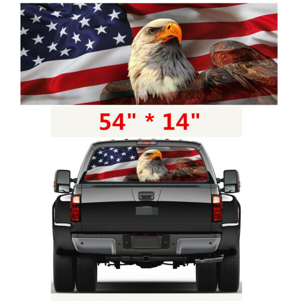American Flag DIY Truck Rear Window Graphic Decal Tint Sticker 54quot; * 14quot; $17.82