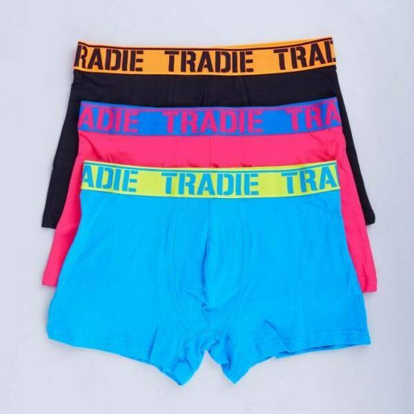 Mens 3 Pack Tradie S-2XL Cotton Boxer Shorts Fitted Trunk Fluro Brights (4WK3)