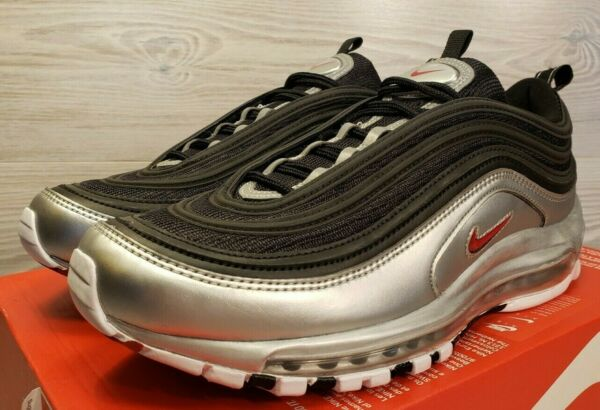 Nike Air Max 97 QS Silver Bullet Black Red Fashion Sneakers AT5458-001 Size 9
