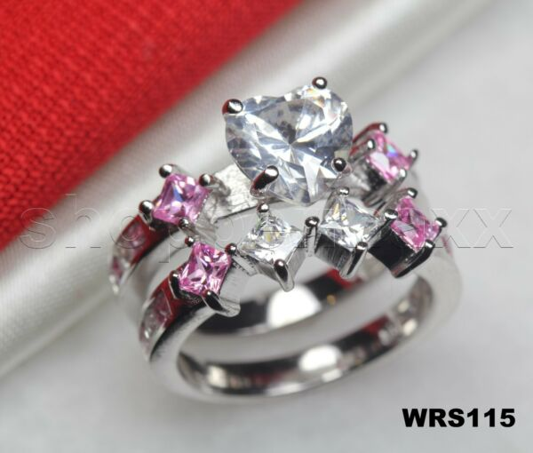 Bridal Silver 925 Heart Shaped Pink & White Sapphire Engagement Wedding Ring Set