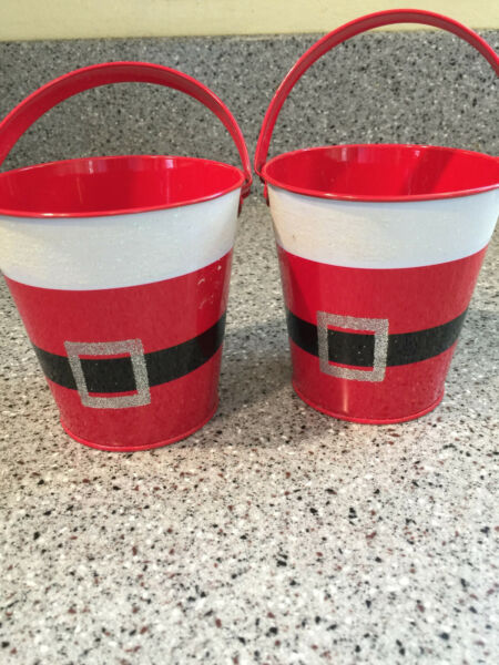 CHRISTMAS RED SANTA SUIT BLACK BELT SILVER BUCKLE EMPTY TIN PAIL LOT OF 2