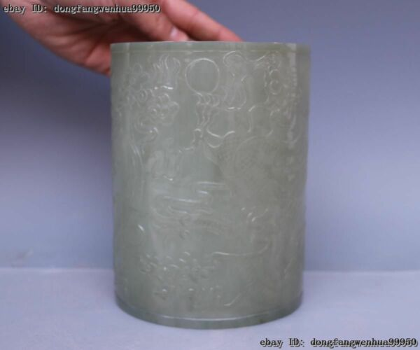 China Old He Tian Jade Carved Dynasty Two Dragon Play Bead Pen holder Brush pot