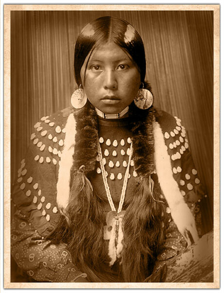 KALISPEL GIRL Edward S. Curtis 1910 Photograph Expertly Restored Preserved