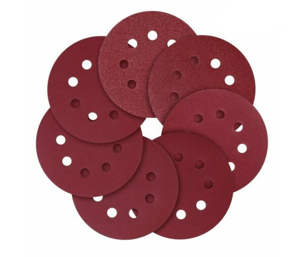 5-Inch 8-Hole Hook and Loop Sanding Discs 4080120180240 Assorted Grit 50 pcs