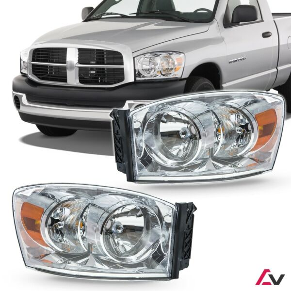 2006-2008 For Dodge Ram Clear Lens Aftermarket Replacement Headlights Headlamps