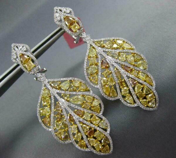 LARGE 11.29CT WHITE & FANCY YELLOW DIAMOND 18K 2 TONE GOLD LEAF HANGING EARRINGS