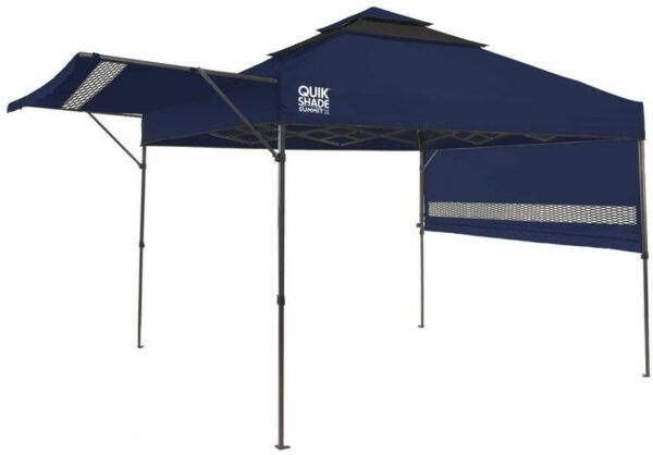 10 ft. x 10 ft. Instant Canopy Heavy Duty Frame w Dual Half Awnings Navy Blue