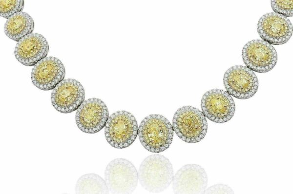 LARGE 21.68CT WHITE & FANCY YELLOW DIAMOND 18KT 2 TONE GOLD 3D ETERNITY NECKLACE
