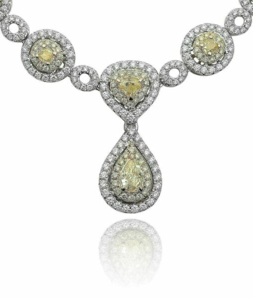 ESTATE WIDE 31.16CT WHITE & FANCY DIAMOND 18K 2 TONE GOLD OVAL ETERNITY NECKLACE