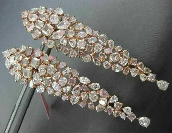 ESTATE EXTRA LARGE 18.98CT PINK DIAMOND 18KT ROSE GOLD CLUSTER HANGING EARRINGS