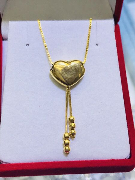 "18k Solid Yellow Gold Cute Heart N Ball Tassel Necklace.Length 16"". Retail $580"