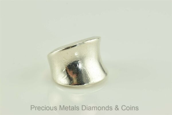 Mexican Sterling Silver Tapered Concaved 16mm Ring Sz: 5