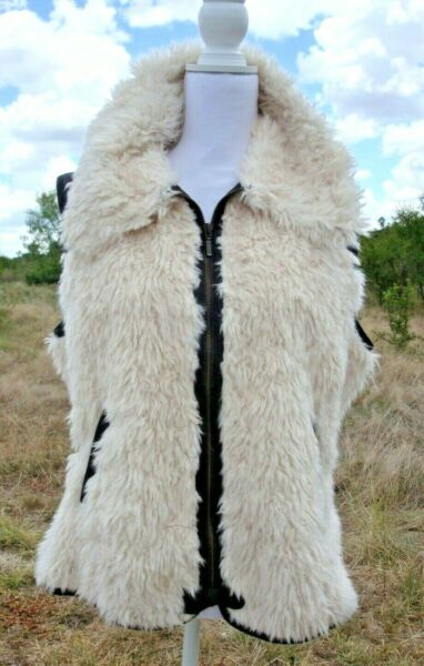 Cripple Creek Faux Sheepskin and  Brown PU Faux Leather Vest - Size L