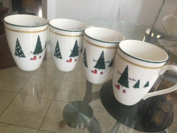 KATE SPADE LENOX  SET 4 ARBOR VILLAGE RED 12 oz MUGS  CUPS HOLIDAY CHRISTMAS