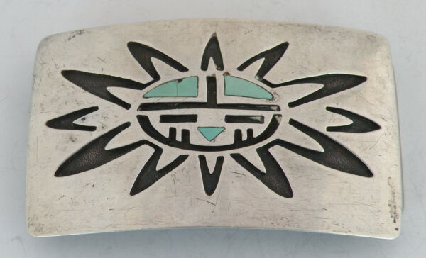 Vintage Native American Sterling Silver Belt Buckle turquoise inlay Sun Face