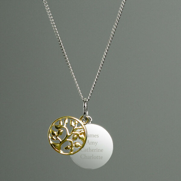 Personalised Sterling Silver amp; 9ct Gold Family Tree Necklace Engraved Message