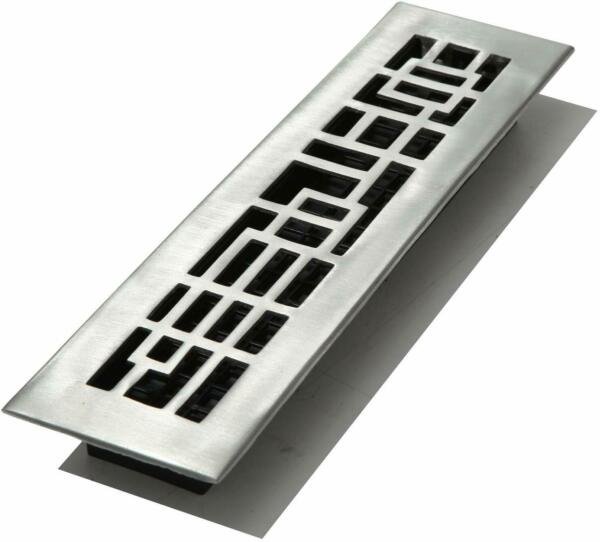 Decor Grates AB212-NKL 2-Inch by 12-Inch Abstract Floor Register Brushed Nickel