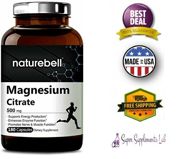 MAGNESIUM CITRATE 500 mg 180 Capsules Supports Energy Metabolism Muscles Hearth