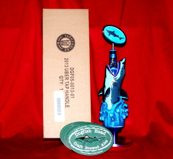 BRAND NIB BEAUTIFUL DOGFISH HEAD 2013 UBER TAP HANDLE SHARK w COASTERS