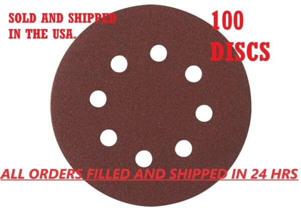 5-Inch 8-Hole Hook and Loop Sanding Discs 4080120180240 Assorted Grit 100pcs