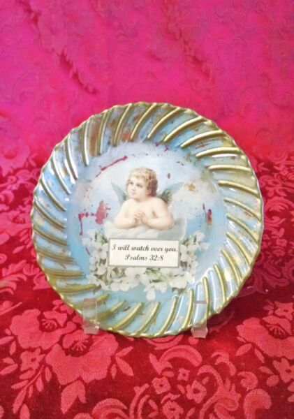 Psalms 32:8 painted vintage vitro corning plate with and cherub angel picture