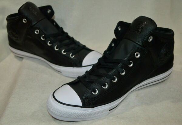 Converse Men's CT High Street Black/Wh Hi-Top Leather Sneakers-Assorted Szs NWB
