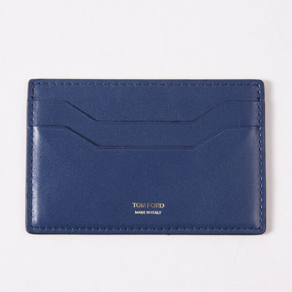 NWT TOM FORD Blue Leather Card Holder Front Pocket Wallet with ID Window