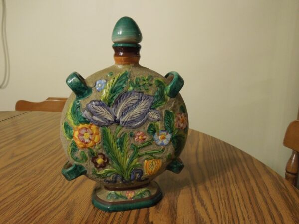 Round Pottery Bottle produced & painted raised flower design in Italy by L.L.
