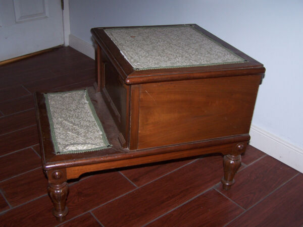 Vintage Antique Wood  Bed Step with A Potty