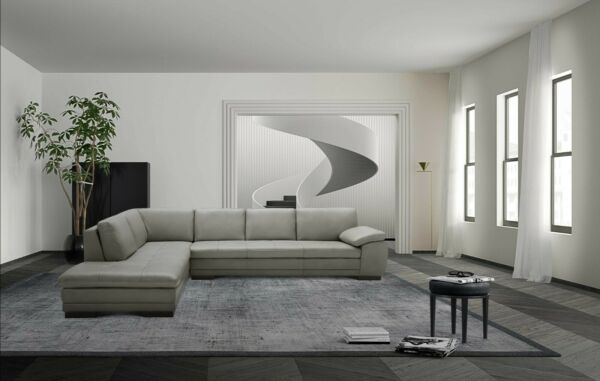 625 Contemporary Premium Grey Leather Upholstery Sectional Sofa