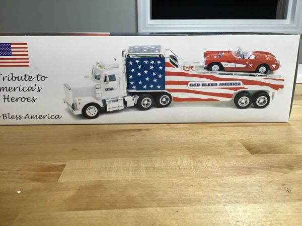 TMT 9-11 God Bless America Car Carrier Truck with Lights and Corvettes