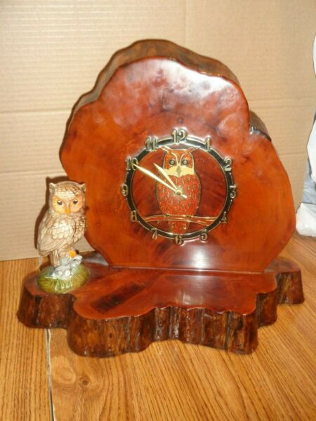 OWL BIRD Tree Slab Wooden Log Mantle Clock - E.N.Miller Co IL  used