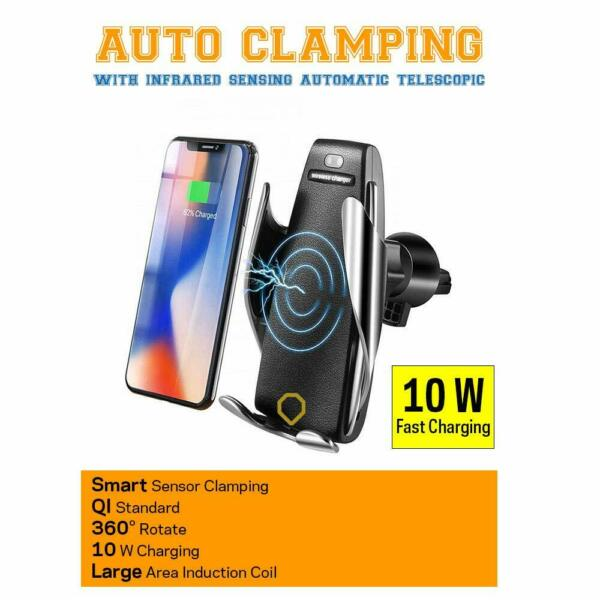 QI Automatic Clamping Wireless Car Charger Fast Charging Mount  iPhone Samsung