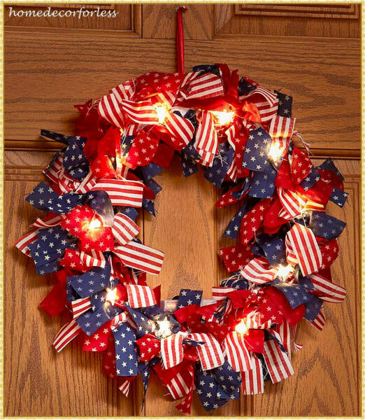 Lighted Patriotic American Flag Wreath Stars and Stripes Wall Door Home Decor