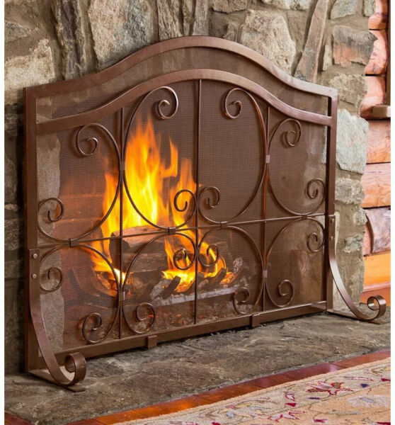 Ornamental Plow and Hearth Single Panel Iron Fireplace Screen Powder-Coated
