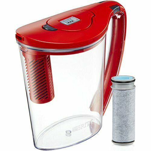 Brita Hydro Stream 10 Cup BPA Free Filter-As-You-Pour Water Pitcher Chili Red