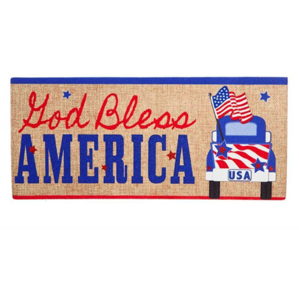 God Bless America Pick Up Truck Sassafras Switch Mat Patriotic Day Car Decor