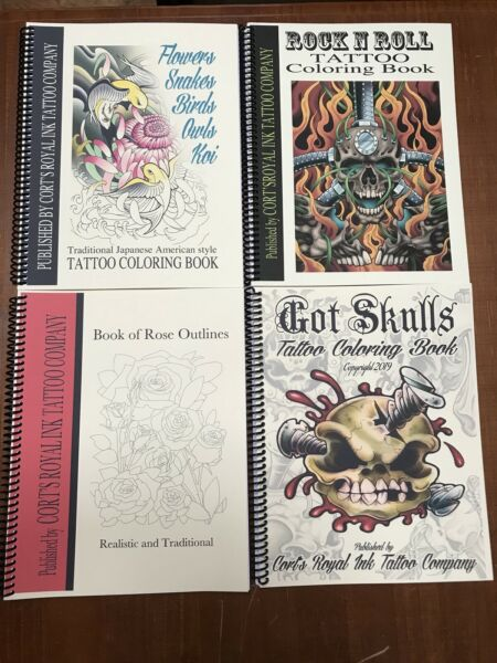 Lot Of 4 Adult Tattoo Coloring Book