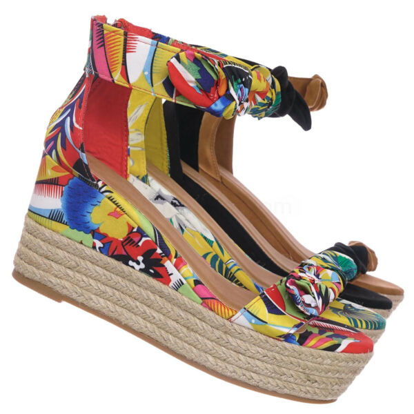 Olson19 Espadrille Jute Rope Braided Wedge Sandal - Women Bow Floral Ankle Strap