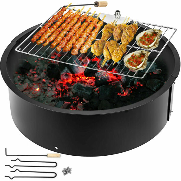 Fire Pit Ring Liner 24364245 With BBQ Grill Fire Bowl Durable Steel In Ground