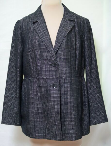 J.Jill Woven Black White Cotton Blend Long Peplum Unstructured Jacket Blazer 16